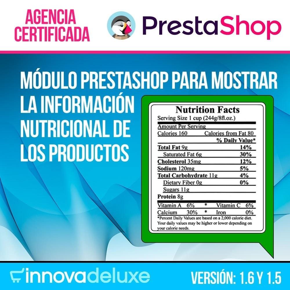 module - Informaciones adicionales y Pestañas - Información nutricional de los productos - 1
