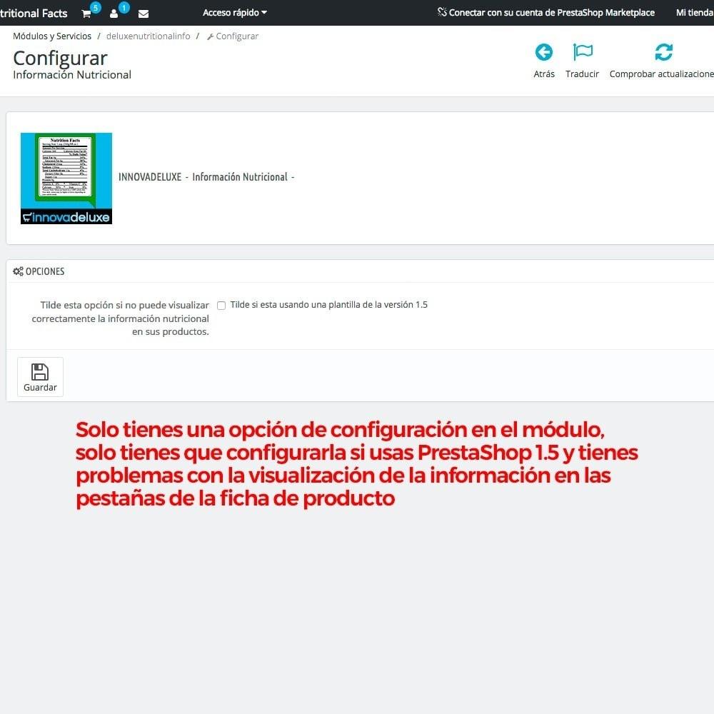module - Informaciones adicionales y Pestañas - Información nutricional de los productos - 3