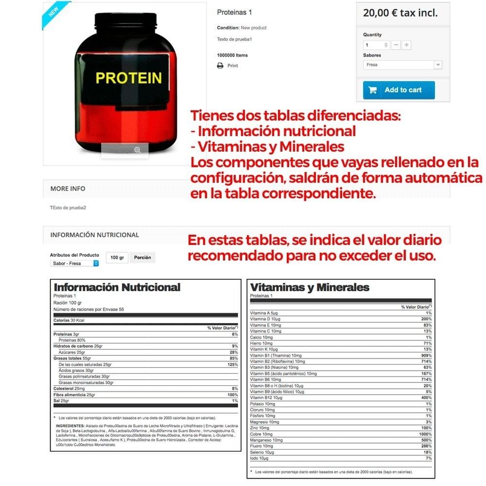 module - Informaciones adicionales y Pestañas - Información nutricional de los productos - 10