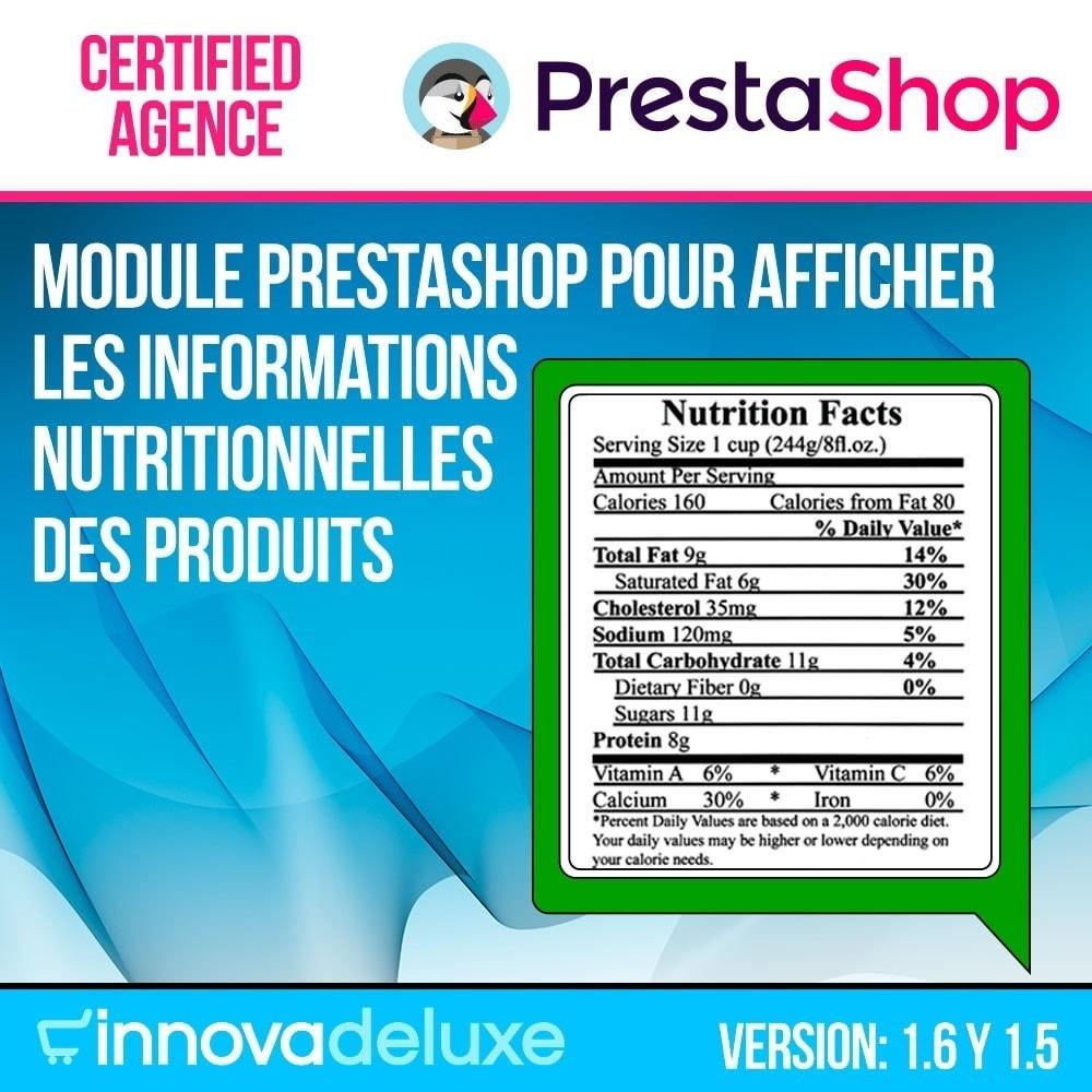 module - Information supplémentaire & Onglet produit - Information nutritionnelle sur les produits - 1
