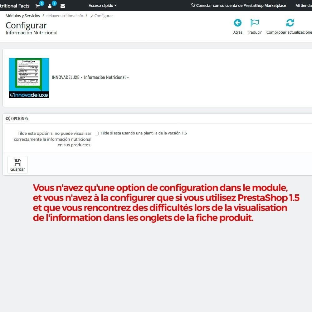 module - Information supplémentaire & Onglet produit - Information nutritionnelle sur les produits - 3