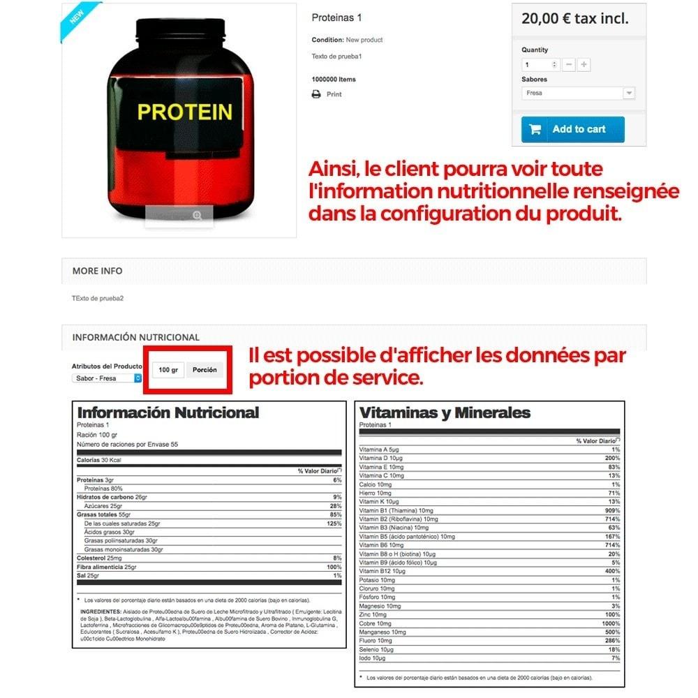 module - Information supplémentaire & Onglet produit - Information nutritionnelle sur les produits - 8