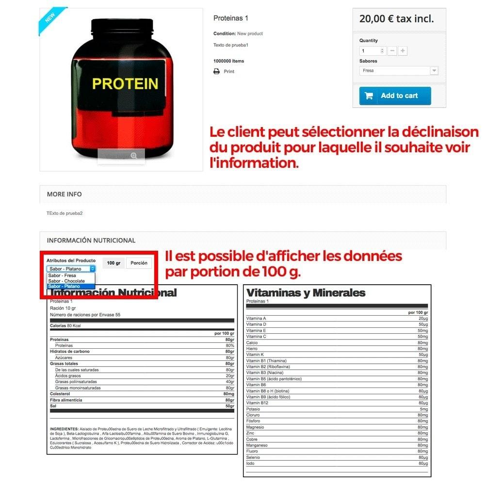 module - Information supplémentaire & Onglet produit - Information nutritionnelle sur les produits - 9