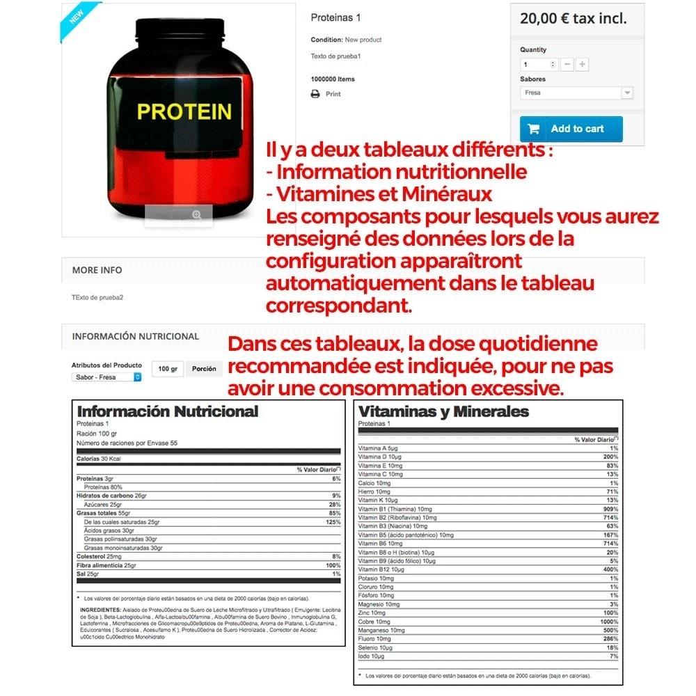 module - Information supplémentaire & Onglet produit - Information nutritionnelle sur les produits - 10