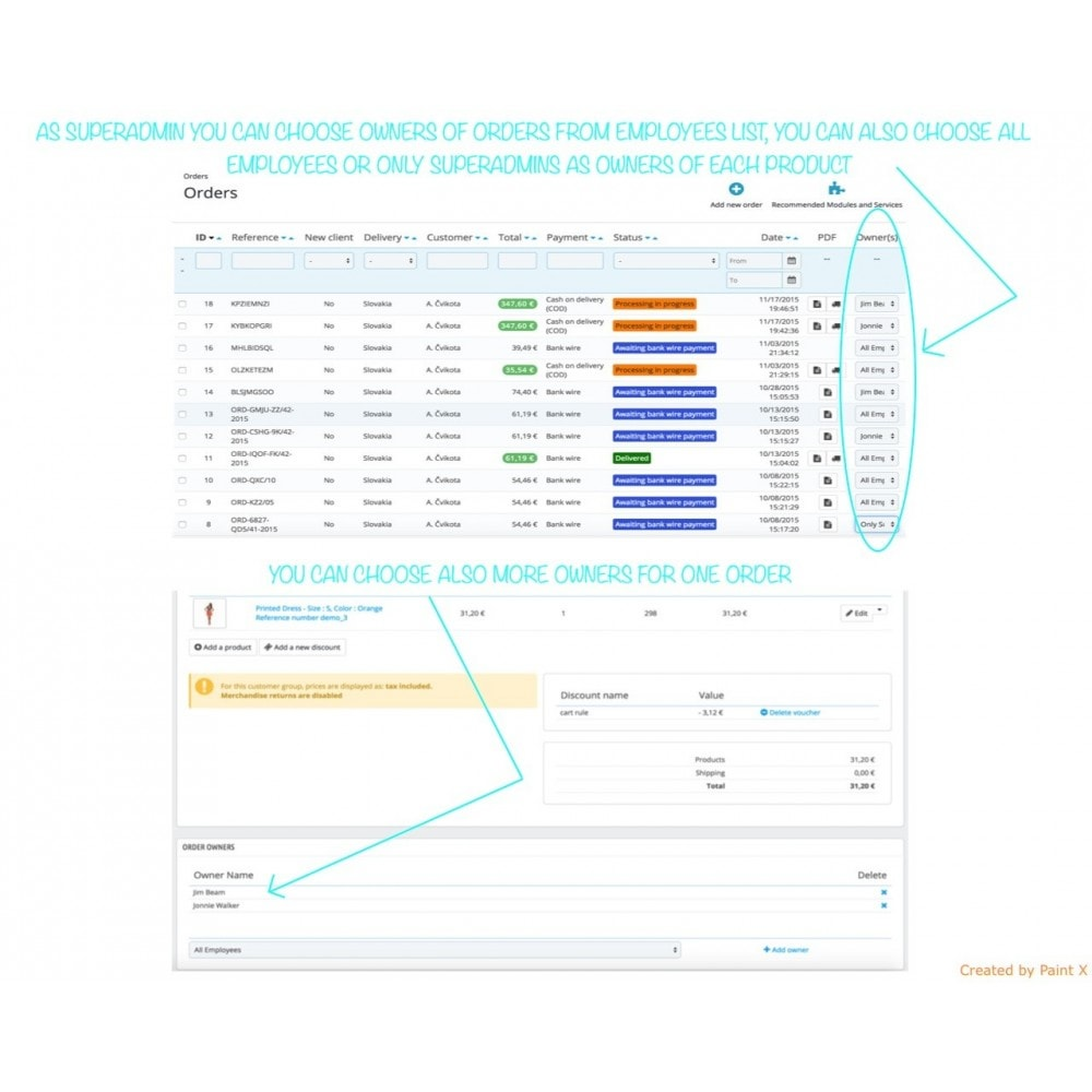 module - Auftragsabwicklung - Besitzrecht der Angestellten zu Produkten, Bestellungen - 1