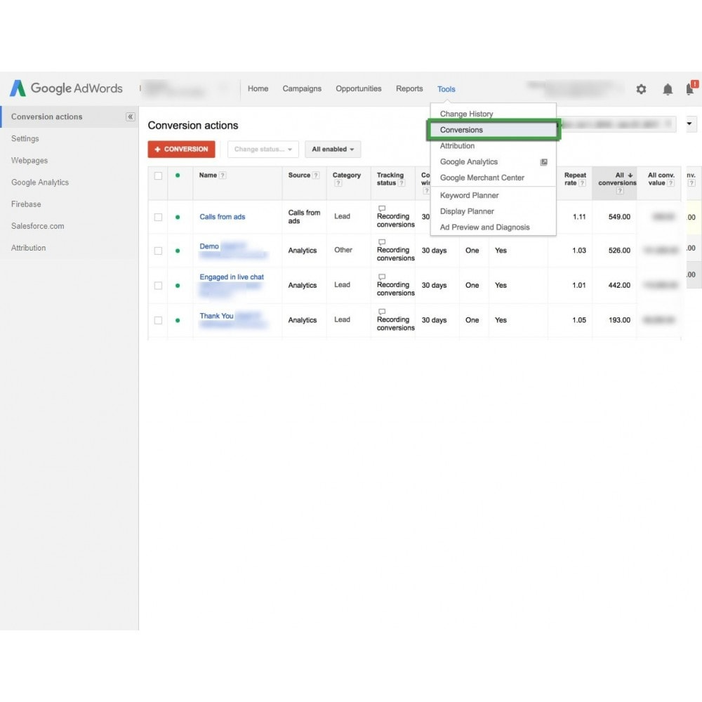 module - Analysen & Statistiken - Google Adwords Conversion Tracking - 3