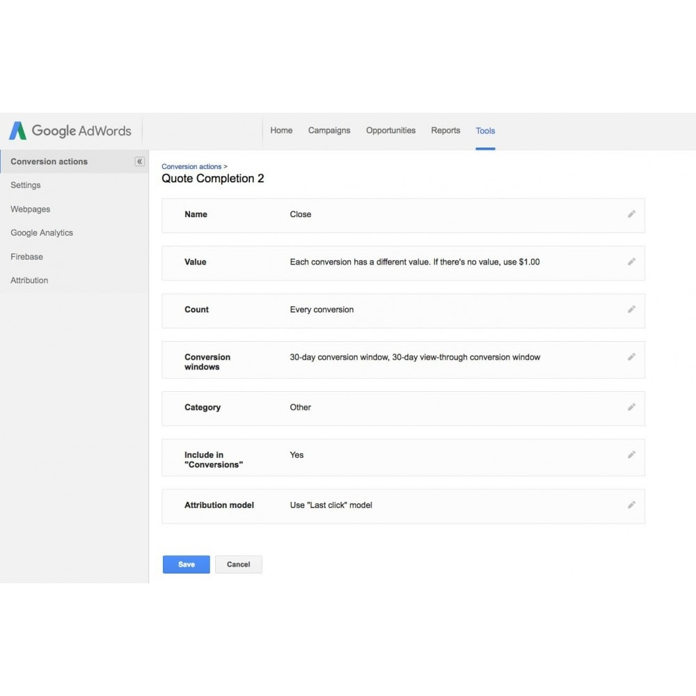 module - Analysen & Statistiken - Google Adwords Conversion Tracking - 4
