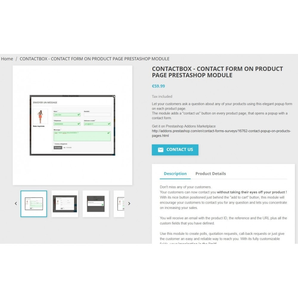 module - Formulario de contacto y Sondeos - ContactBox: Customizable Contact Form for products - 3