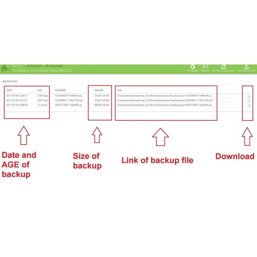 module - Миграции и сохранения данных - Auto Backup - 2