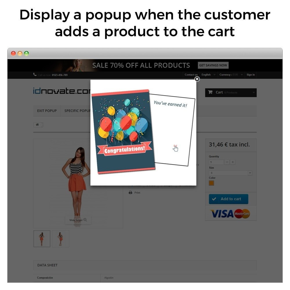 module - Pop-up - Popup when entering, leaving, add product, newsletter - 5