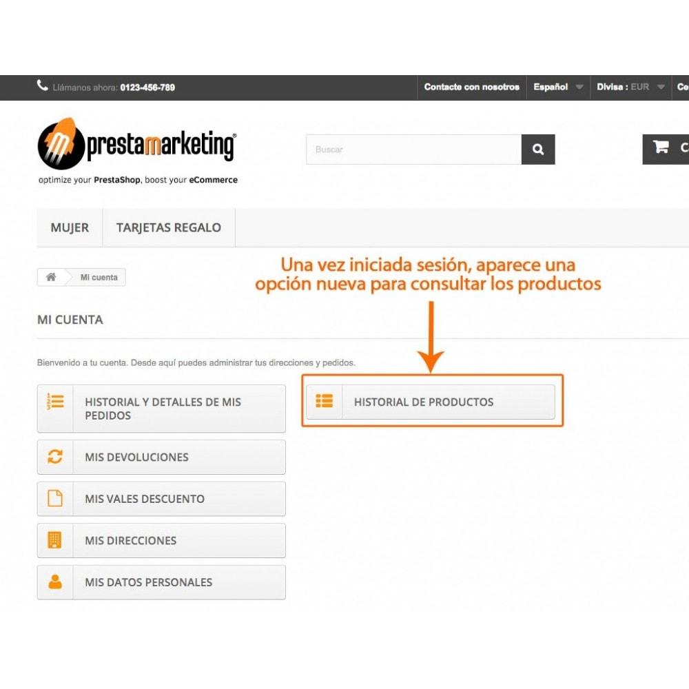 module - Gestión de clientes - Historial de productos en área de cliente - 1