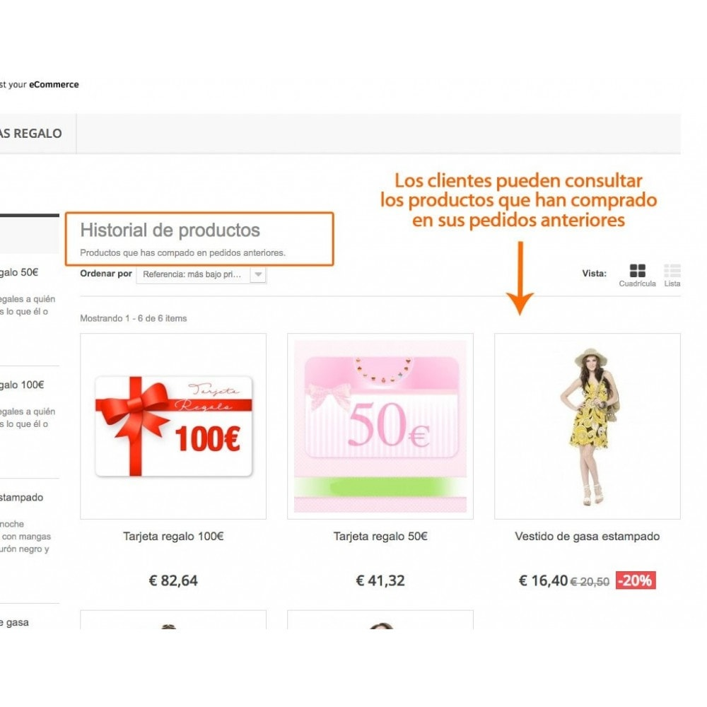 module - Gestión de clientes - Historial de productos en área de cliente - 2