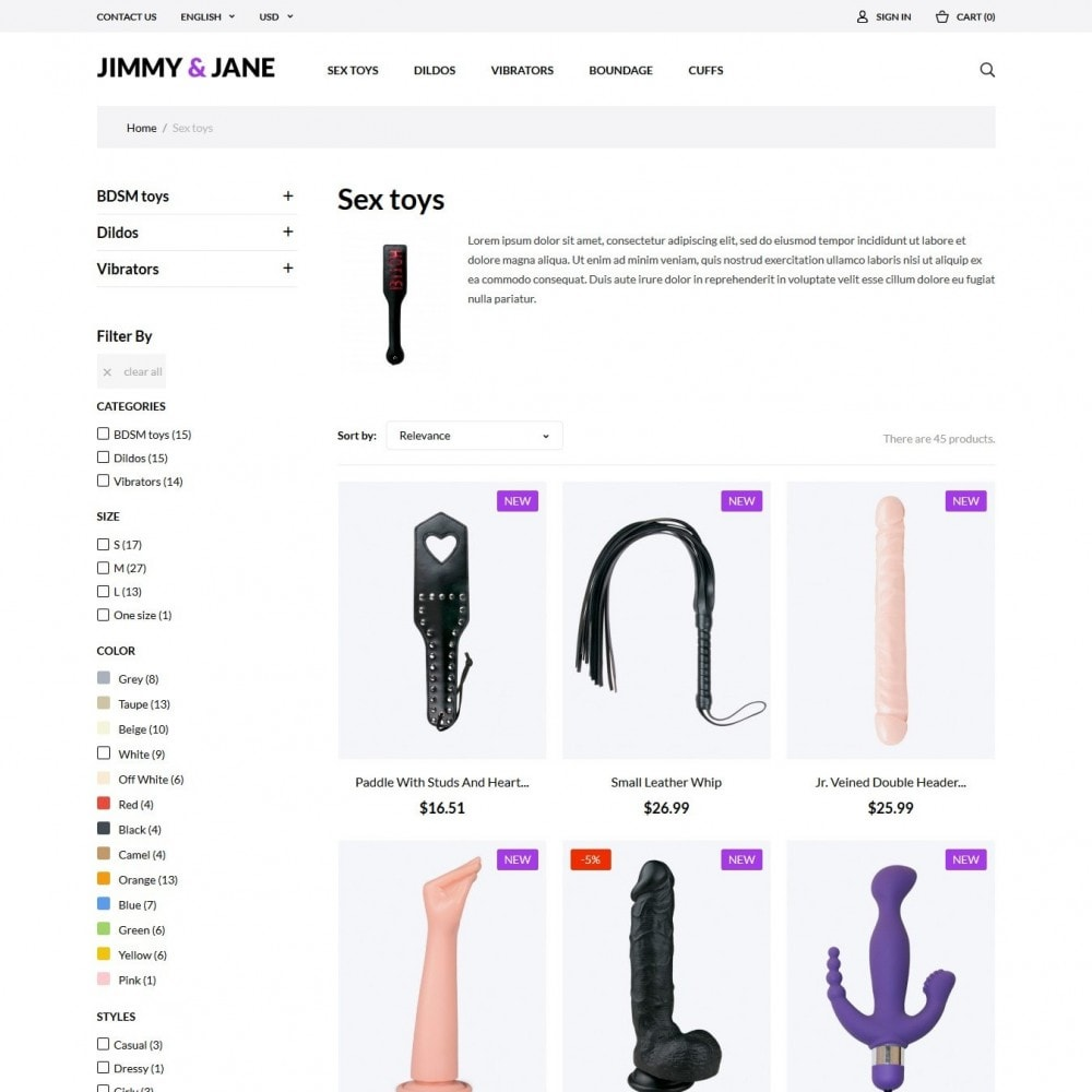 theme - Нижнее белье и товары для взрослых - Jimmy&Jane - SexShop - 5