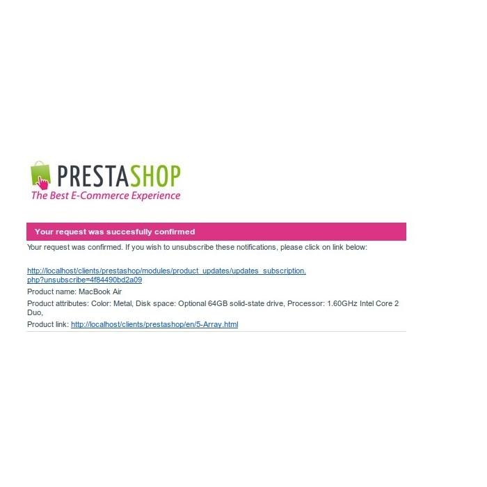 module - электронные письма и уведомления - Product updates notifications - 6