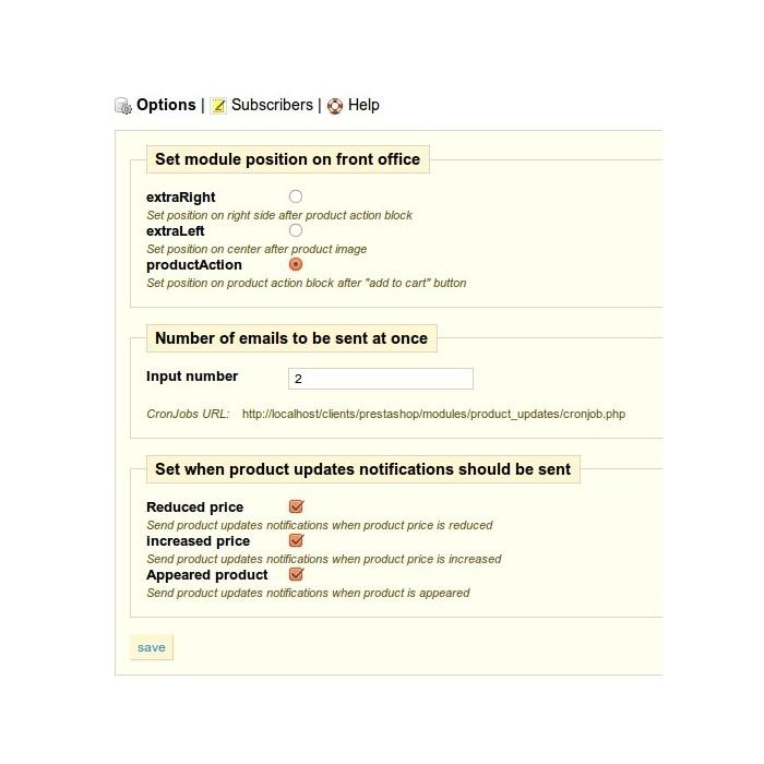 module - электронные письма и уведомления - Product updates notifications - 7
