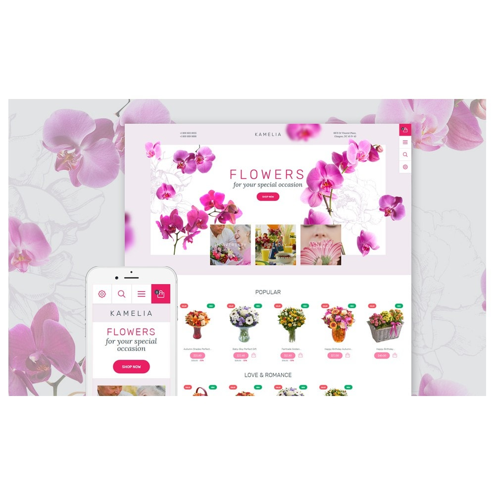 theme - Cadeaux, Fleurs et Fêtes - Kamelia - 2