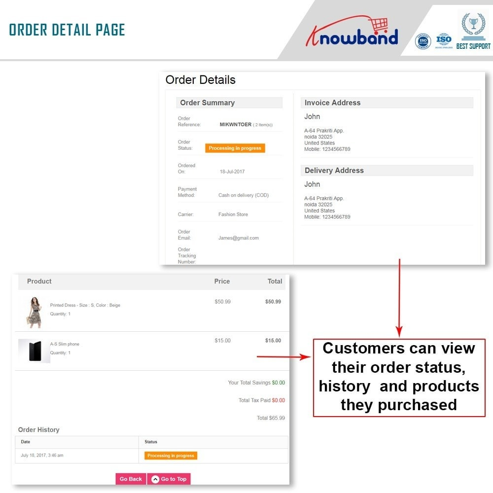module - Gestione Ordini - Knowband - Mobile Order Lookup - Track Order Status - 3
