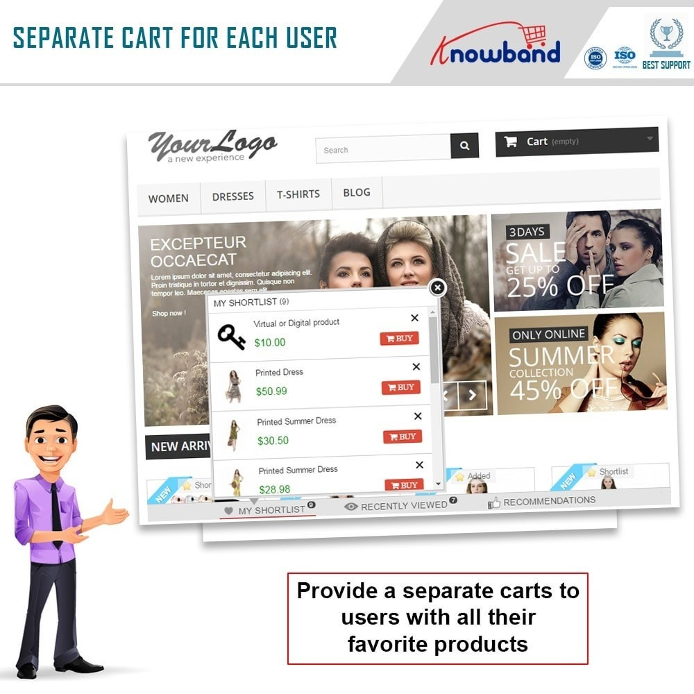 module - Whishlist & Gift Card - Knowband - Prestashop Advanced Wishlist/Save For Later - 3