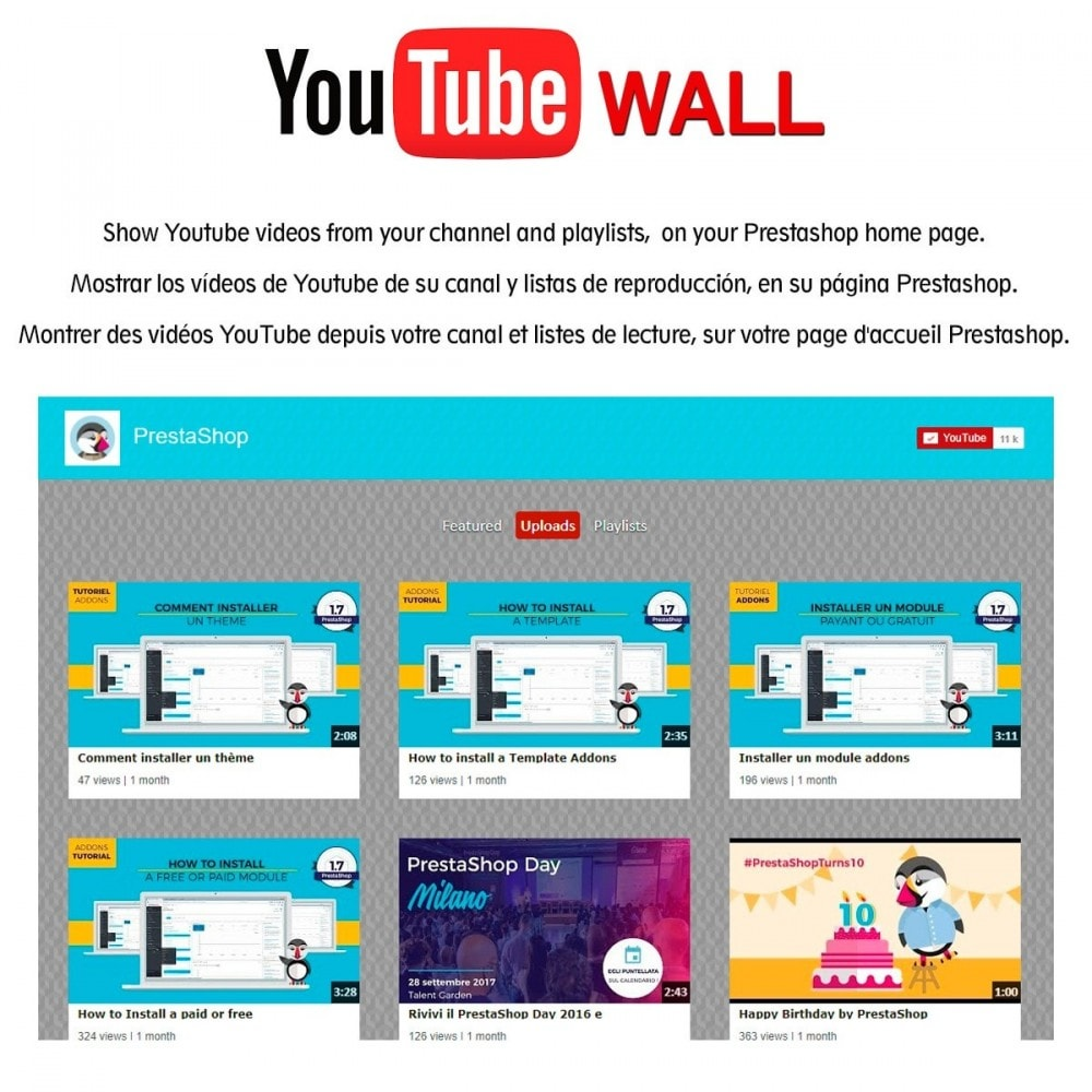 module - Widgets réseaux sociaux - Youtube Wall - 1