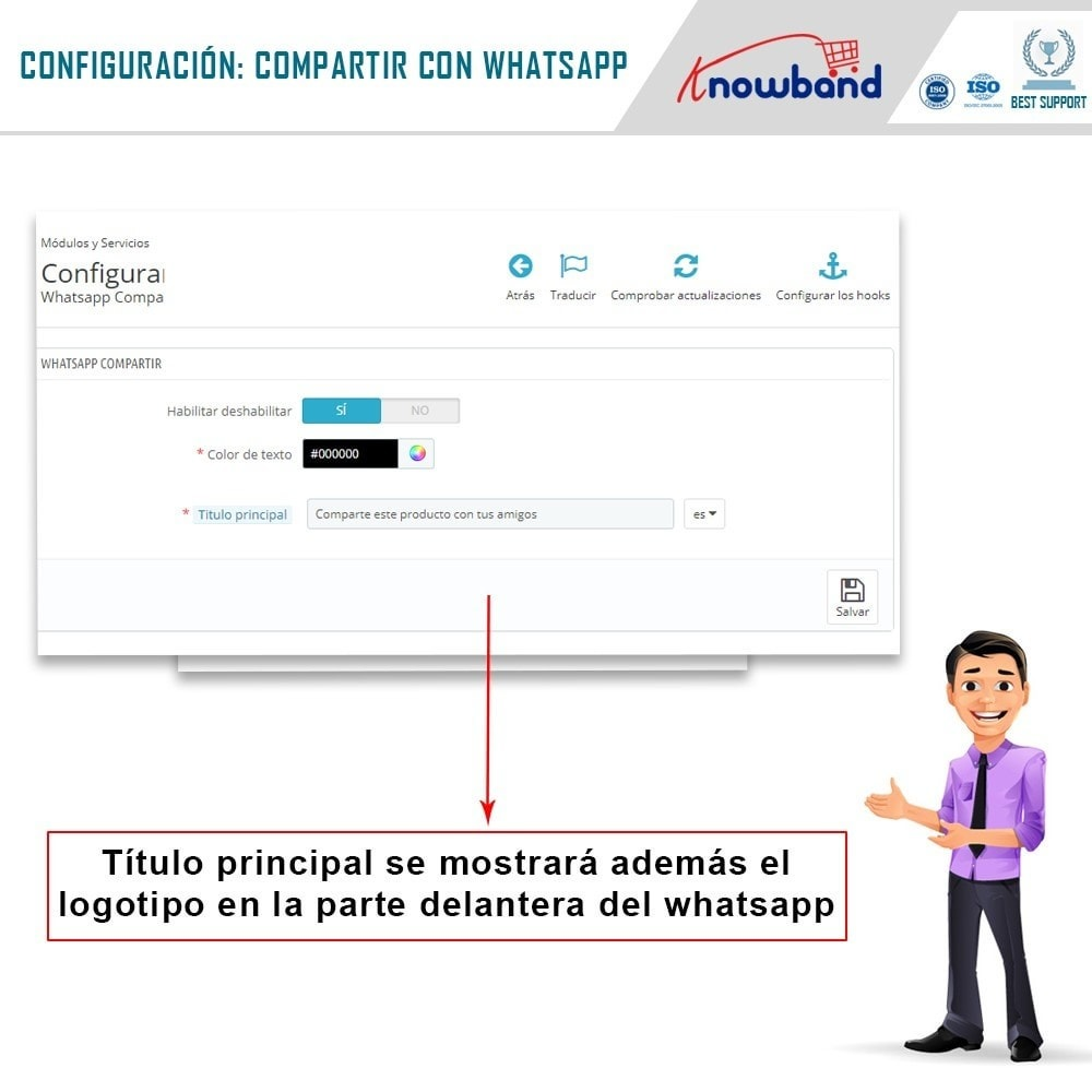 module - Compartir contenidos y Comentarios - Knowband - Compartir en WhstApp - 3