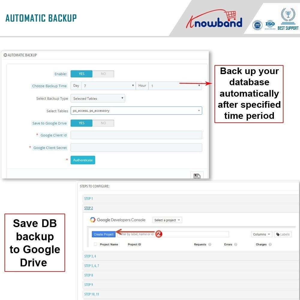 module - Migração de Dados & Registro - Knowband - EasyDB Backup Manager - 3