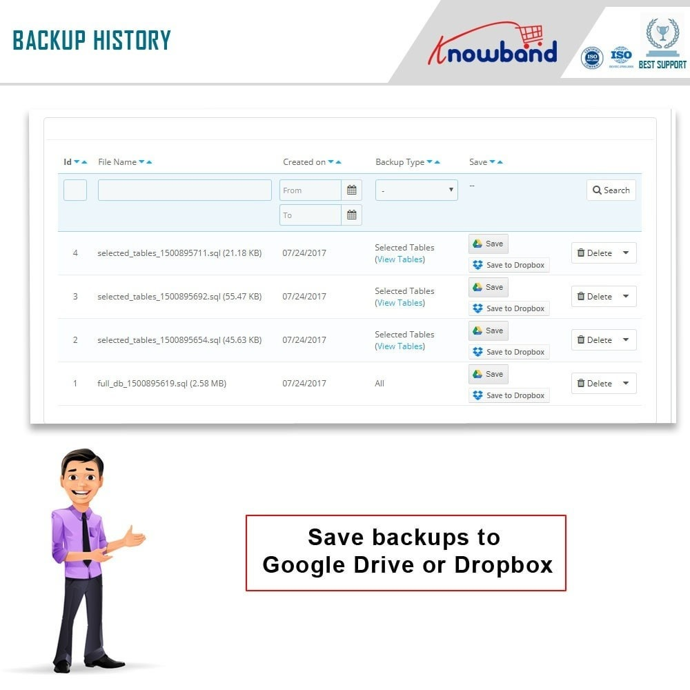 module - Migração de Dados & Registro - Knowband - EasyDB Backup Manager - 5