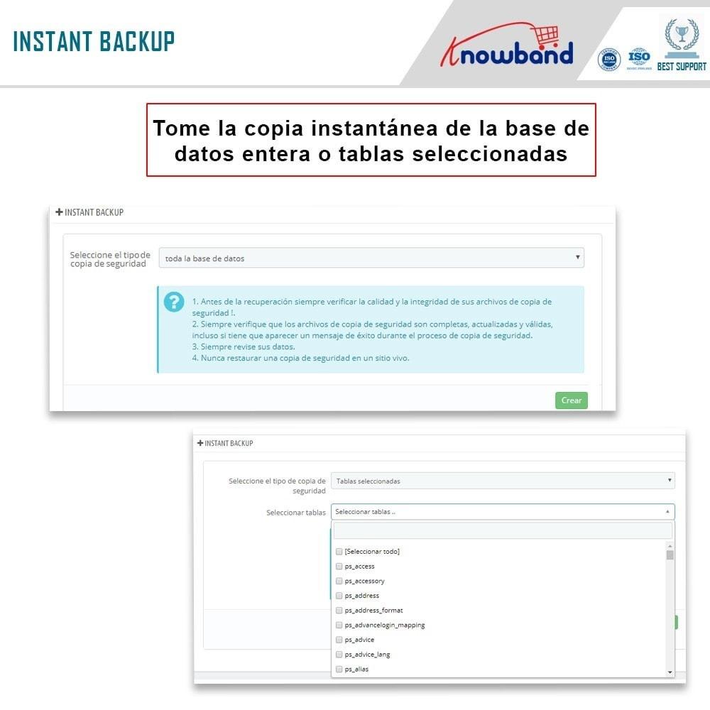 module - Migración y Copias de seguridad - Knowband - Administrador de copia de seguridad EasyDB - 2