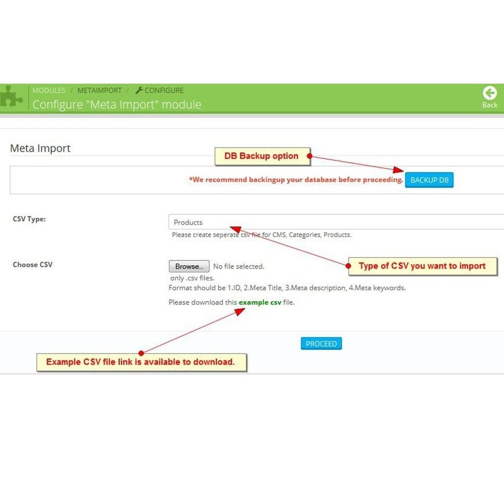 module - SEO (Indicizzazione naturale) - Meta Import, Importazione CSV - 3