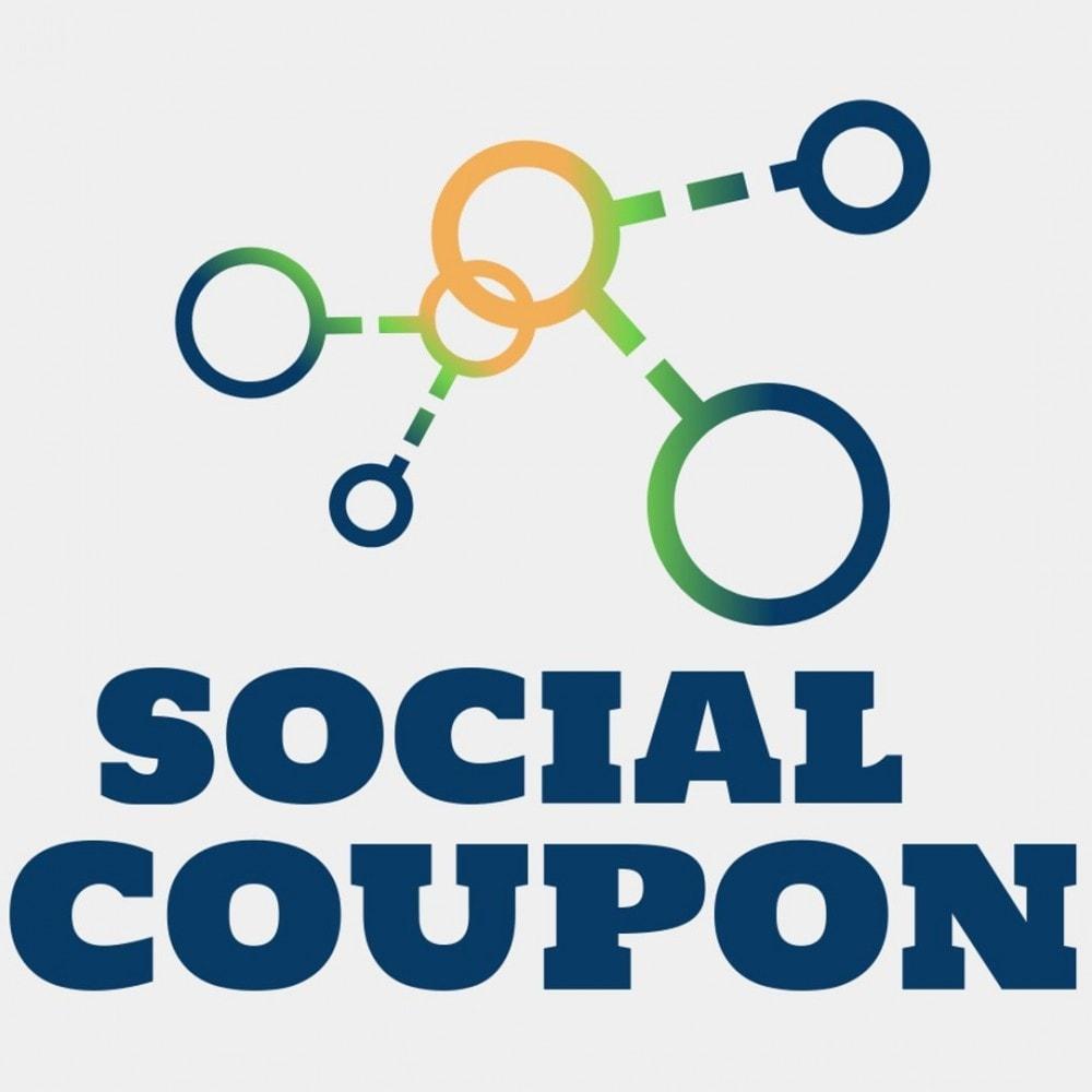 module - Bons de réduction sur les réseaux sociaux - Coupon Social - Augmentez vos followers - 1