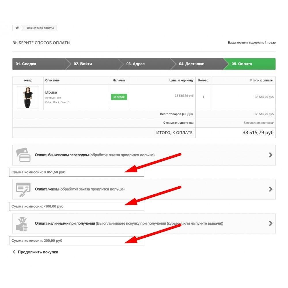module - Оплата при доставке - Комиссии для способов оплаты - 1