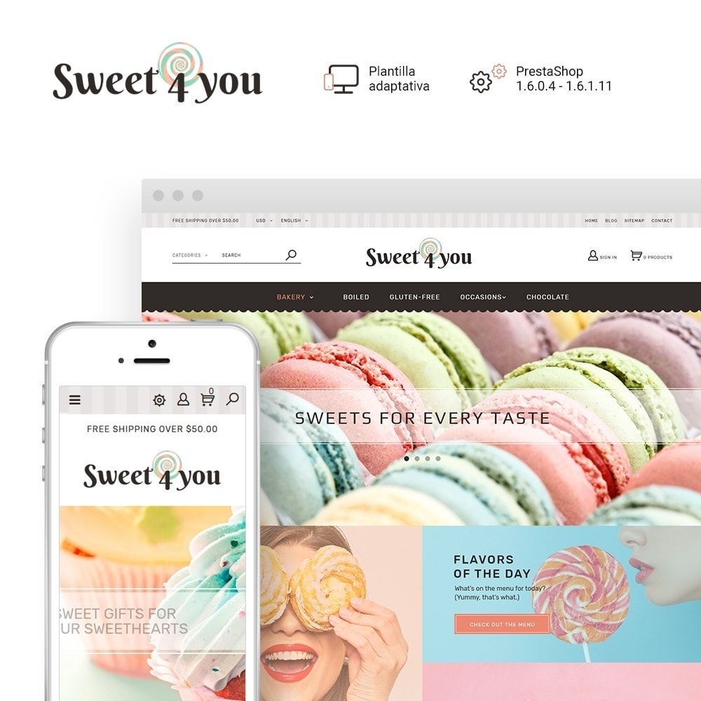 theme - Gastronomía y Restauración - Sweet4you - para Sitio de Tienda de Dulces - 2