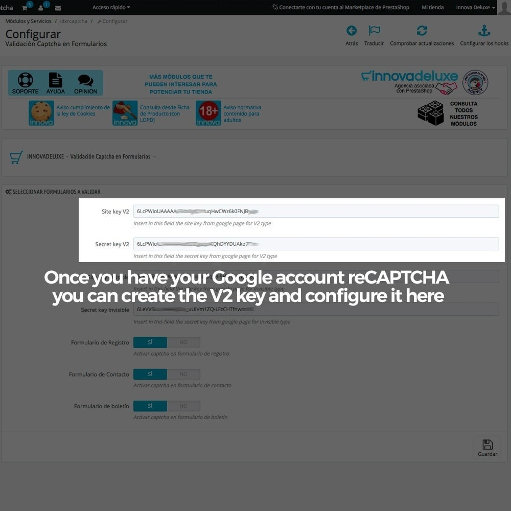 module - Безопасности и доступа - Add Google reCAPTCHA to store forms - 4