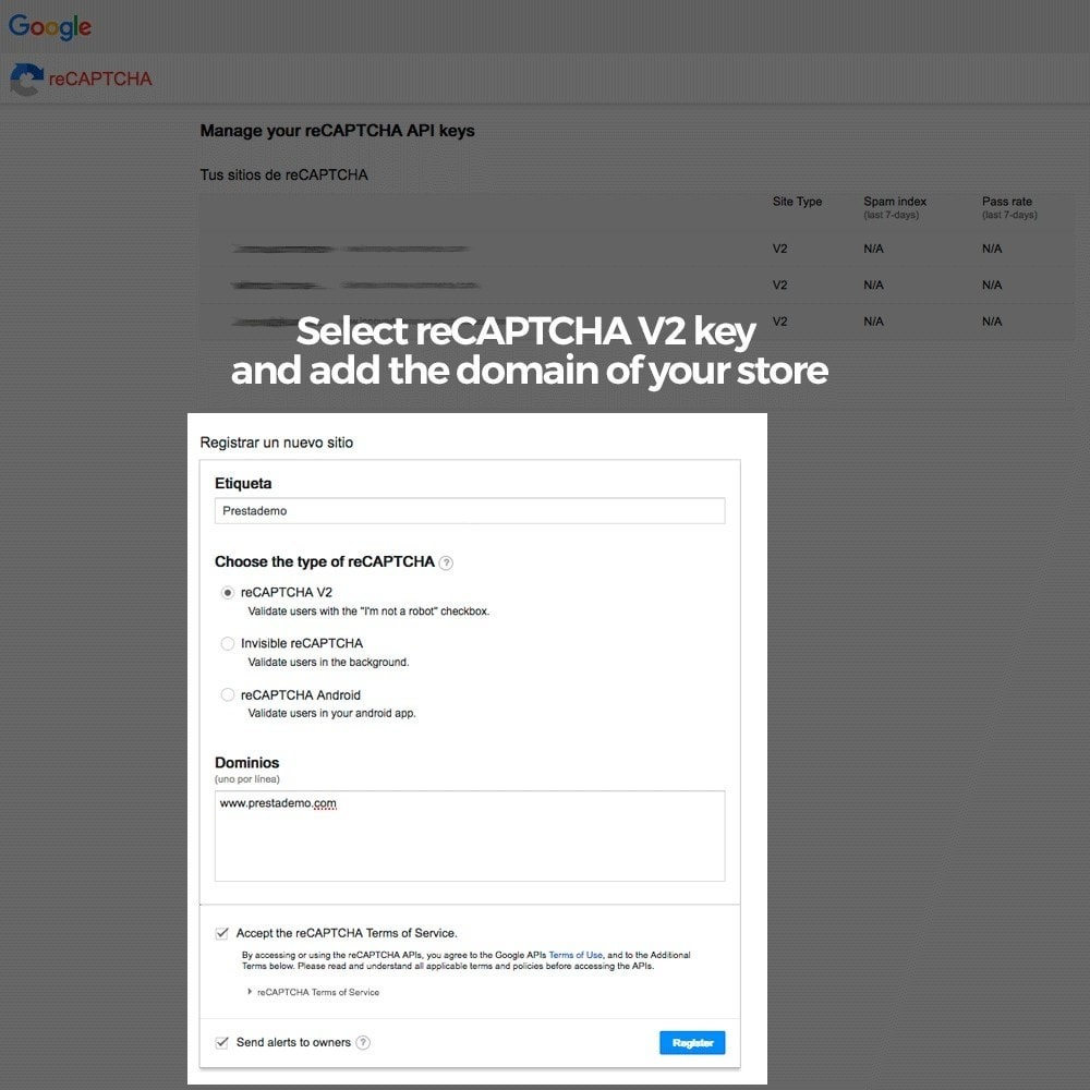 module - Безопасности и доступа - Add Google reCAPTCHA to store forms - 5
