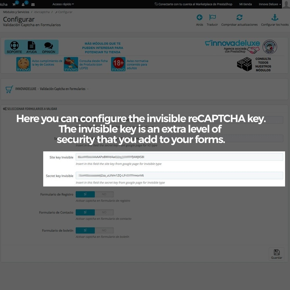 module - Безопасности и доступа - Add Google reCAPTCHA to store forms - 7