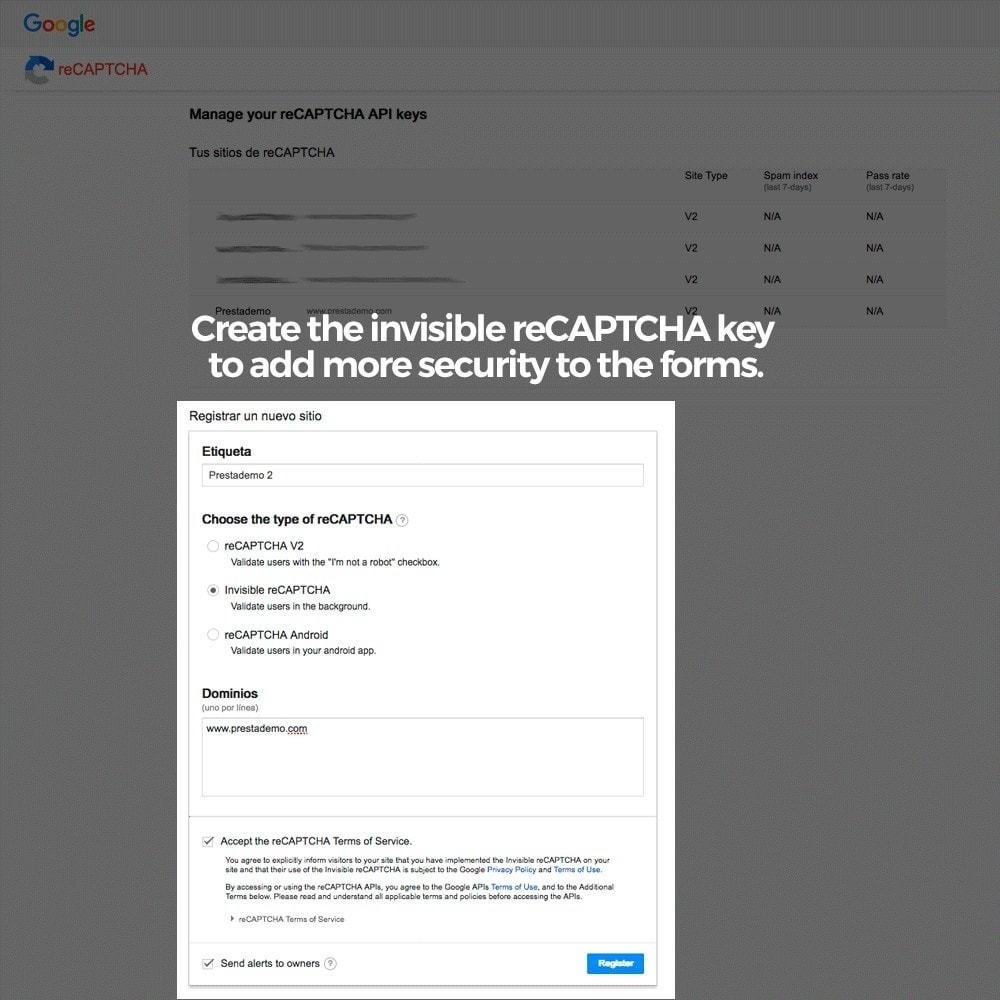 module - Безопасности и доступа - Add Google reCAPTCHA to store forms - 8