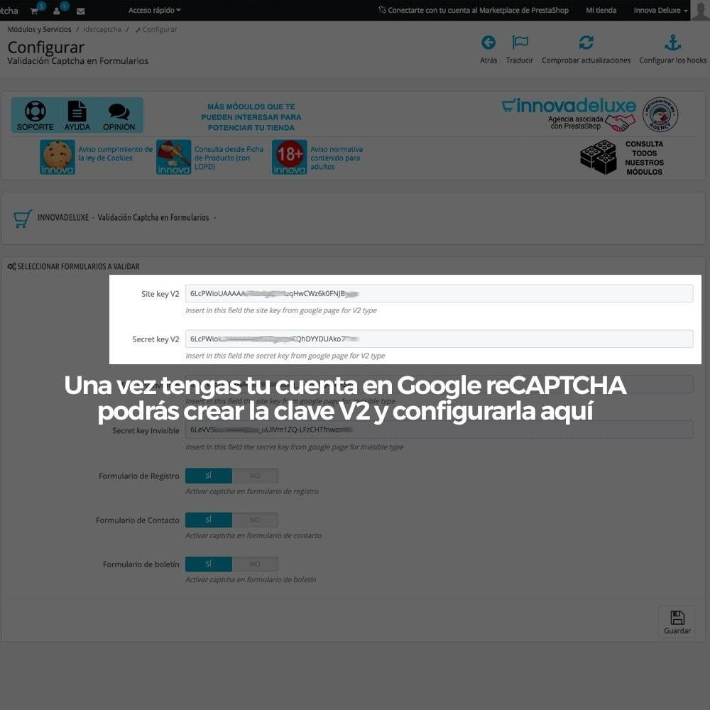 module - Seguridad y Accesos - Añadir Google reCAPTCHA a los formularios de la tienda - 4