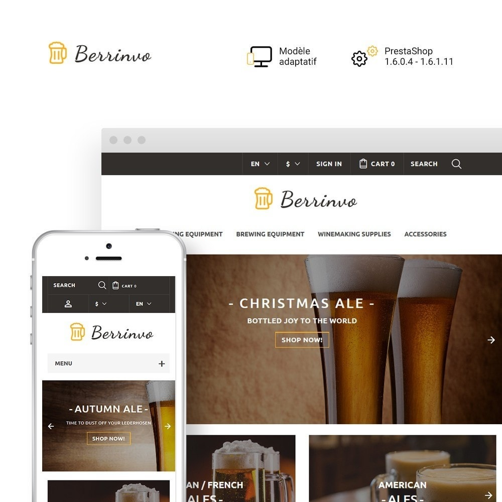 theme - Alimentation & Restauration - Berrinvo - Brasserie thème PrestaShop adaptatif - 1
