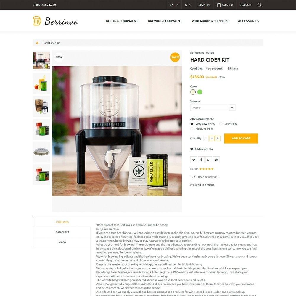 theme - Продовольствие и рестораны - Berrinvo - Адаптивный PrestaShop шаблон пивоварни - 6