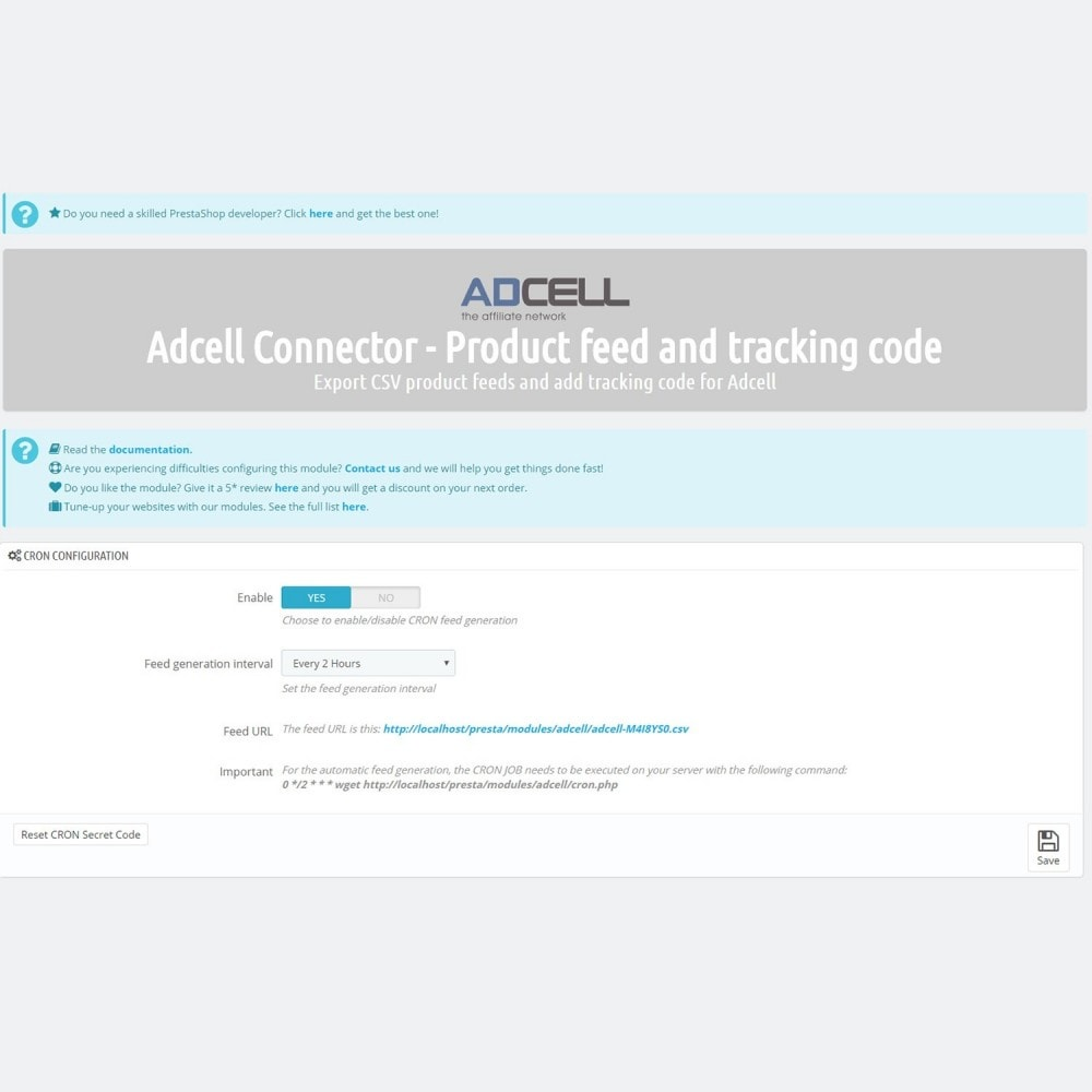 module - Connexion à un logiciel tiers (CRM, ERP...) - Adcell Connector - Product feed and tracking code - 4