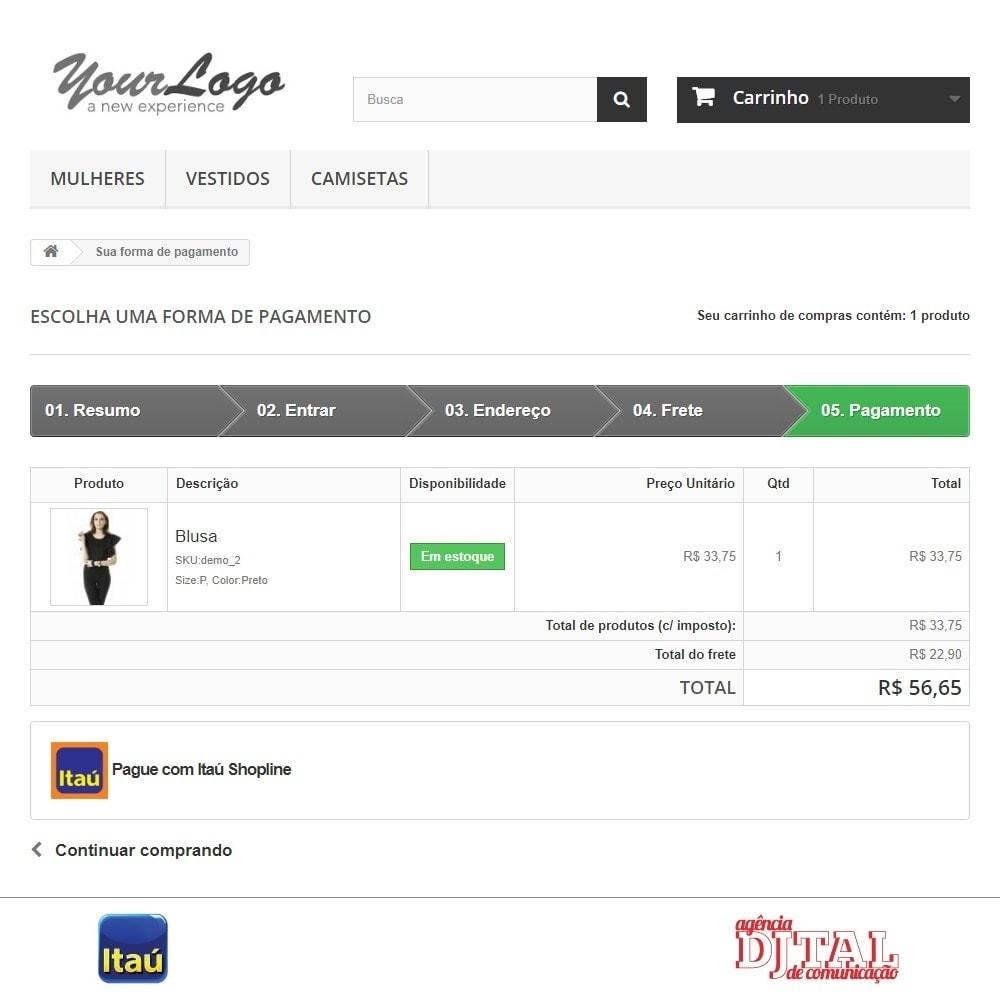 module - Pagamento por cartão ou por carteira - Pagamento por Itau Shopline - 3