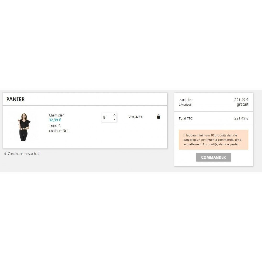 module - Registratie en Proces van bestellingen - Cart with minimum quantity - 2