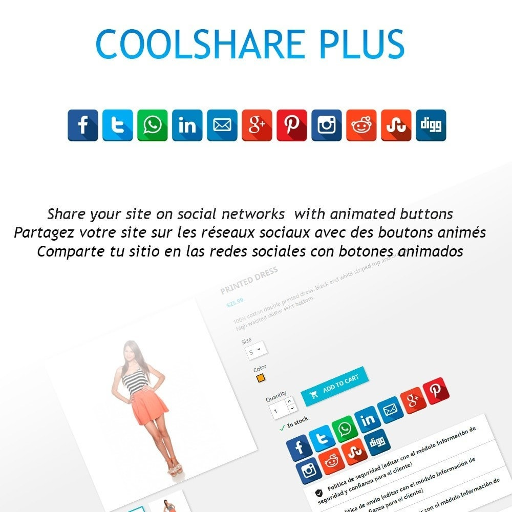 module - Share Buttons & Comments - CoolShare Plus Social networks - 1
