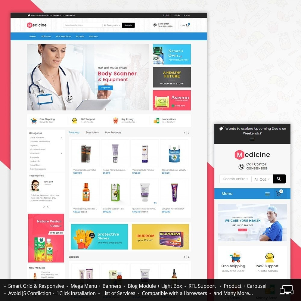 theme - Здоровье и красота - Mega Medicine Store - 1