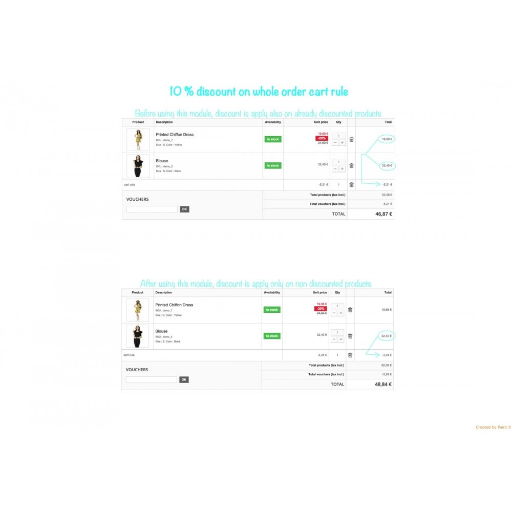 module - Promotions & Cadeaux - Panier d'achat et ses remises - 2