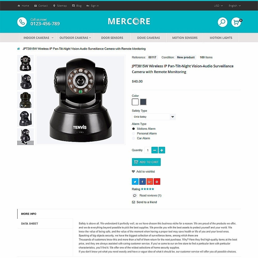 theme - Electrónica e High Tech - Mercore - Tema de PrestaShop para Sitio de Seguridad - 3