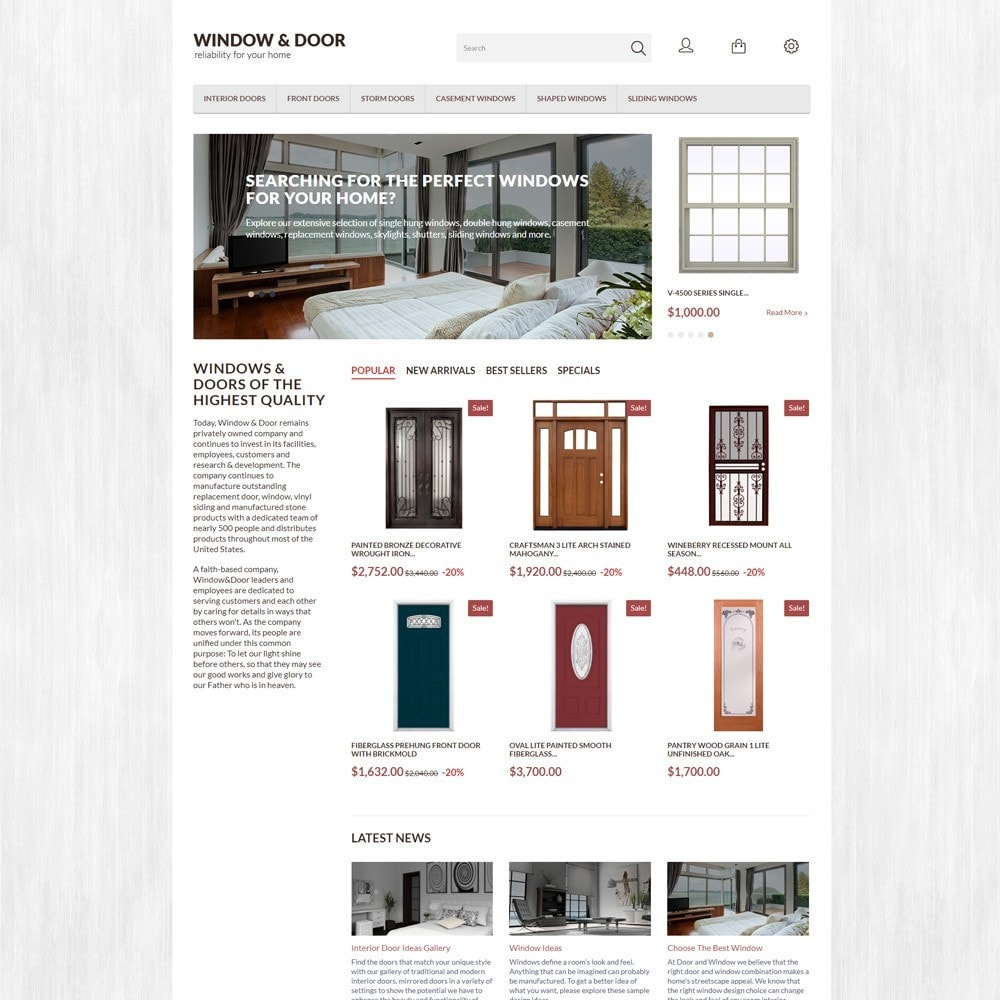 theme - Casa & Giardino - Modello PrestaShop Bootstrap per Un Sito di Finestre - 2