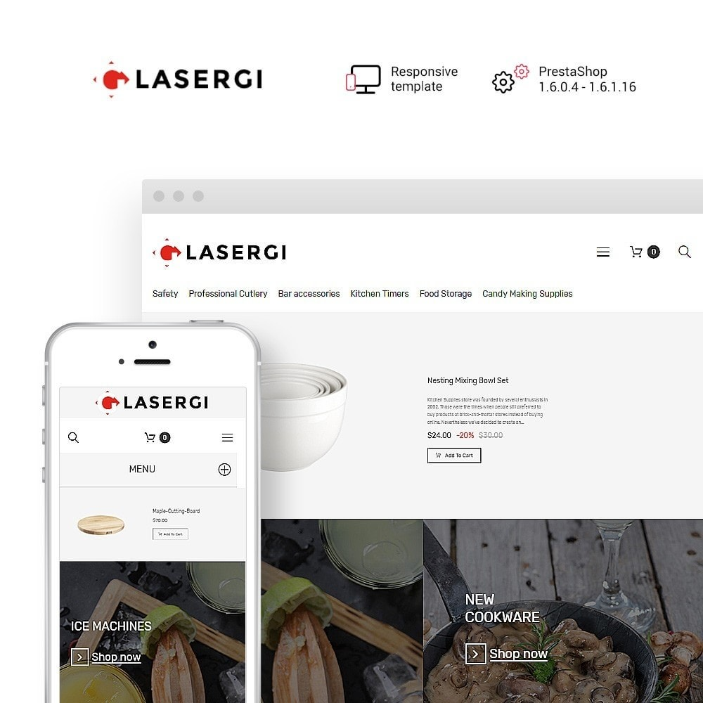 theme - Alimentos & Restaurantes - Glasergi - Cookware & Appliances PrestaShop Theme - 1