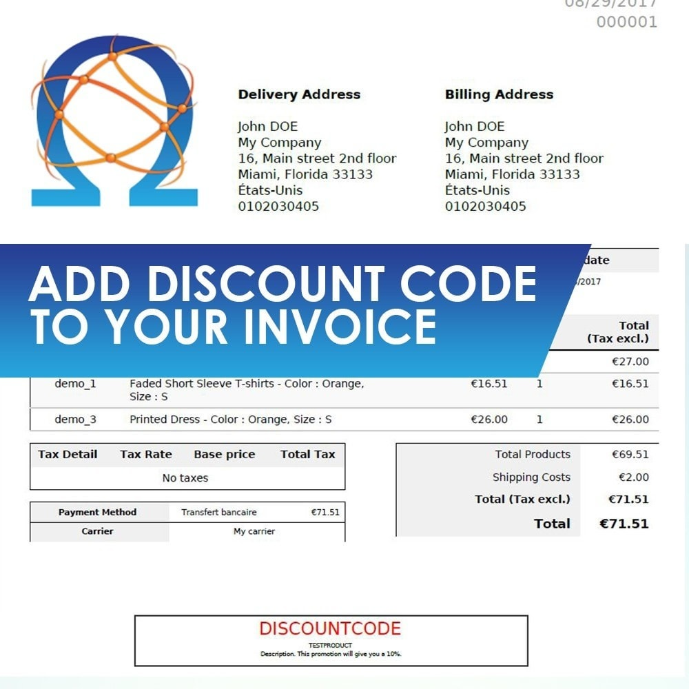 module - Cupons de desconto de redes sociais - Add Discount Code in Invoice - 1