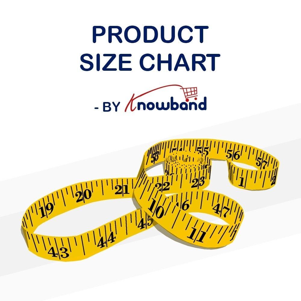 module - Zusatzinformationen & Produkt-Tabs - Knowband - Product size chart - 1