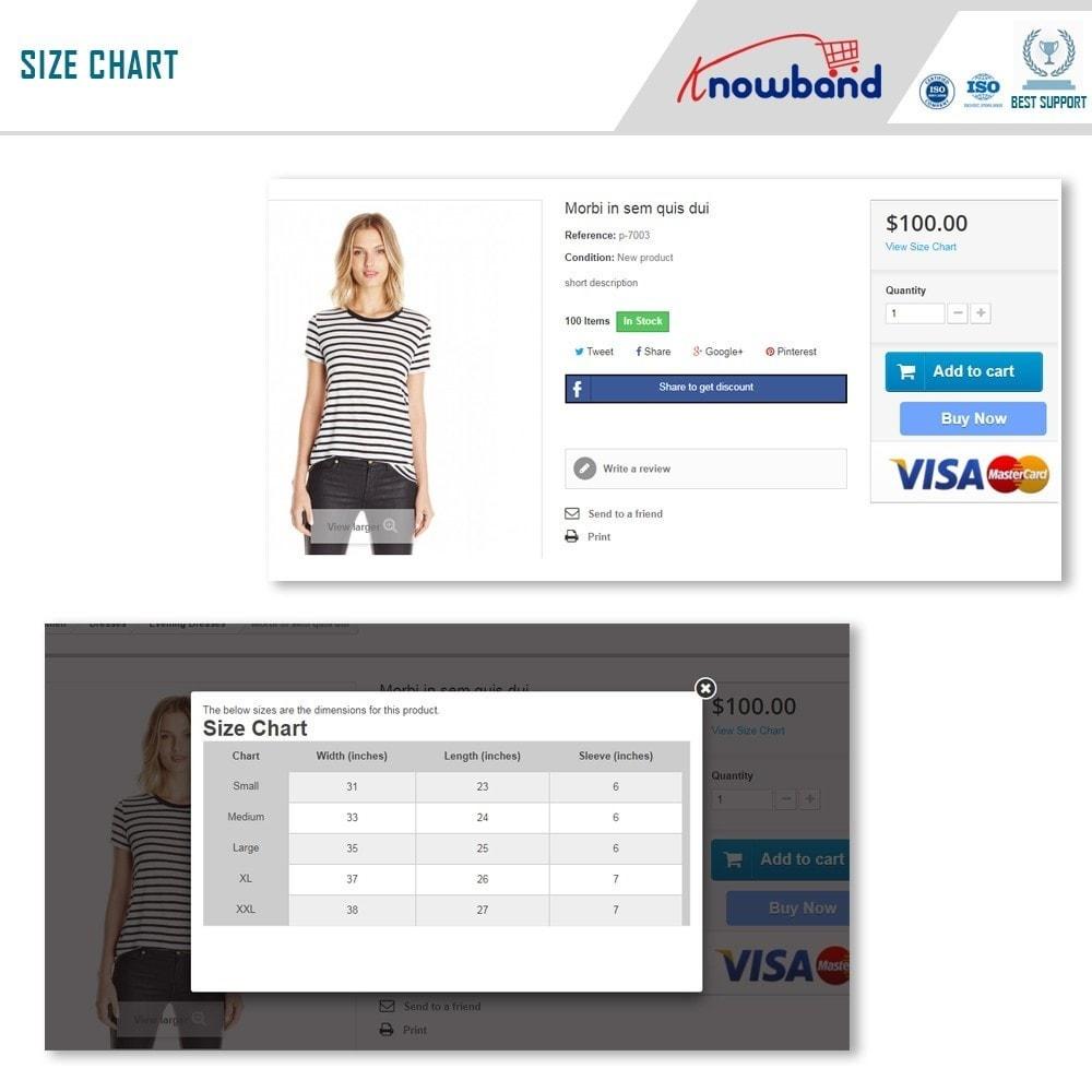module - Zusatzinformationen & Produkt-Tabs - Knowband - Product size chart - 2